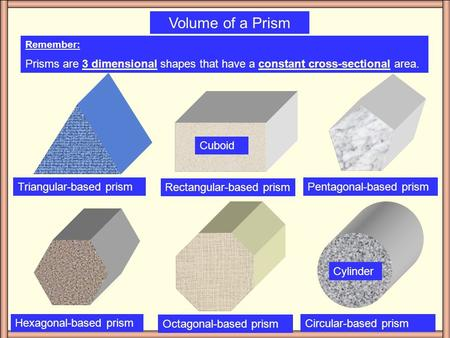 Volume of a Prism Remember: Prisms are 3 dimensional shapes that have a constant cross-sectional area. Triangular-based prism Rectangular-based prism.