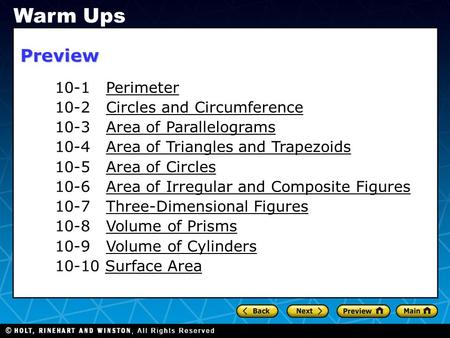 Warm Ups Preview 10-1 Perimeter 10-2 Circles and Circumference