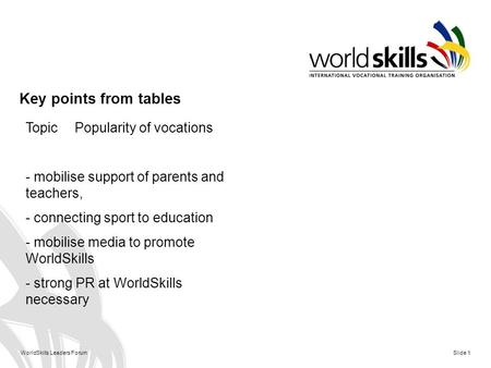 WorldSkills Leaders Forum Slide 1 Key points from tables TopicPopularity of vocations - mobilise support of parents and teachers, - connecting sport to.
