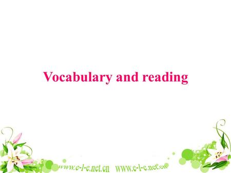 Vocabulary and reading. J.K.Rowling Harry Potter 哈利波特与火焰杯.