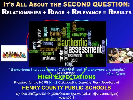 Prepared for the HCPS K – 2 Collaborative Learning Team Members of HENRY COUNTY PUBLIC SCHOOLS by Dan Mulligan, Ed. D., flexiblecreativity.com, (twitter: