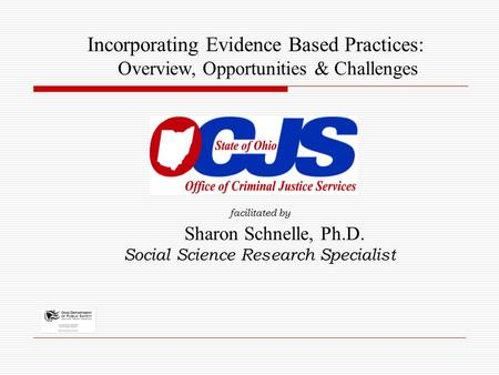 Facilitated by Sharon Schnelle, Ph.D. Social Science Research Specialist Incorporating Evidence Based Practices: Overview, Opportunities & Challenges.