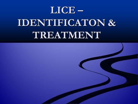 LICE – IDENTIFICATON & TREATMENT