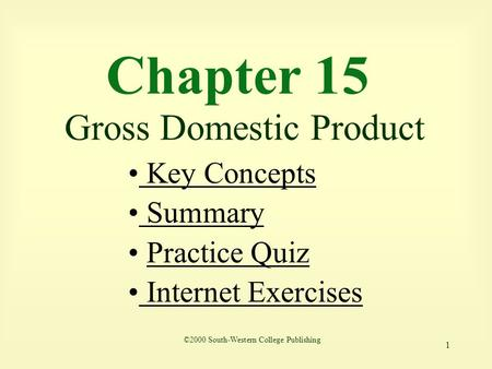 Chapter 15 Gross Domestic Product