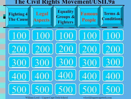 Lord - Upper Cape Tech School 100 200 300 400 500 300 200 400 500 Fighting 4 The Cause Legal Aspects Equality Groups &