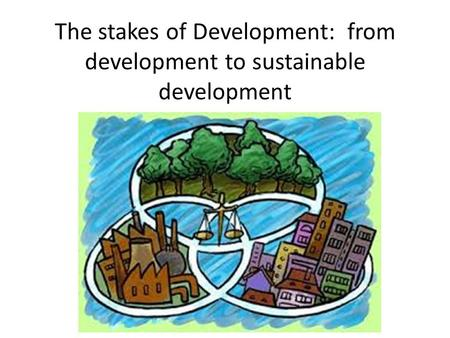 The stakes of Development: from development to sustainable development.