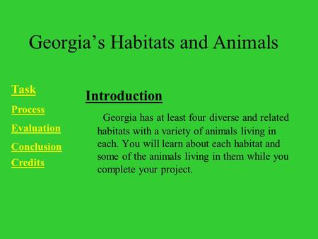 Georgia's Habitats and Animals Introduction Georgia has at least four diverse and related habitats with a variety of animals living in each. You will learn.
