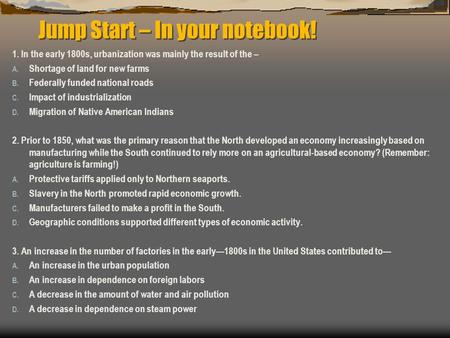 Jump Start – In your notebook!