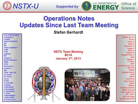 Operations Notes Updates Since Last Team Meeting Stefan Gerhardt NSTX Team Meeting B318 January 3 rd, 2013 NSTX-U Supported by Culham Sci Ctr York U Chubu.
