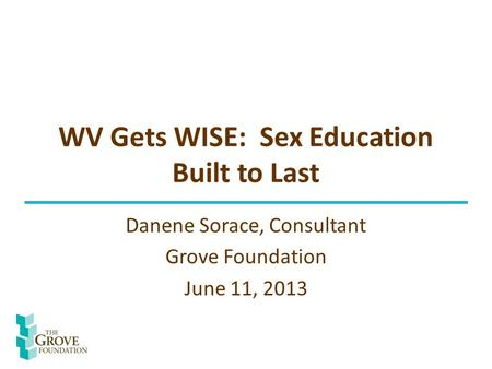 WV Gets WISE: Sex Education Built to Last Danene Sorace, Consultant Grove Foundation June 11, 2013.