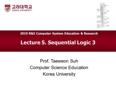 Lecture 5. Sequential Logic 3 Prof. Taeweon Suh Computer Science Education Korea University 2010 R&E Computer System Education & Research.