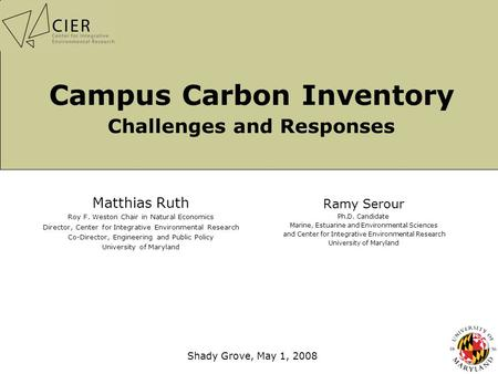 Campus Carbon Inventory Challenges and Responses Matthias Ruth Roy F. Weston Chair in Natural Economics Director, Center for Integrative Environmental.