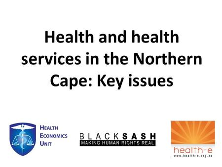 Health and health services in the Northern Cape: Key issues.