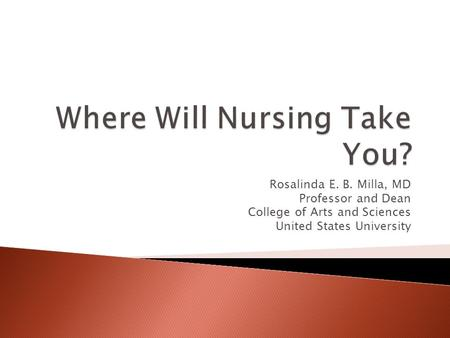 Rosalinda E. B. Milla, MD Professor and Dean College of Arts and Sciences United States University.