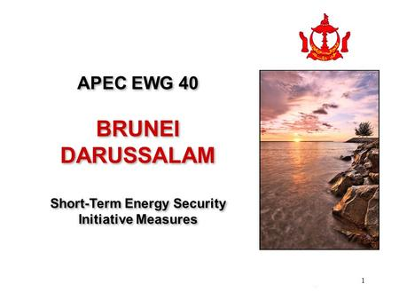 1 km APEC EWG 40 BRUNEI DARUSSALAM Short-Term Energy Security Initiative Measures APEC EWG 40 BRUNEI DARUSSALAM Short-Term Energy Security Initiative Measures.