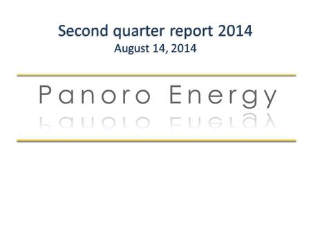 Second quarter report 2014 August 14, 2014. Disclaimer This presentation does not constitute an offer to buy or sell shares or other financial instruments.