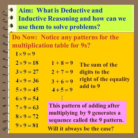 Do Now: Notice any patterns for the multiplication table for 9s?