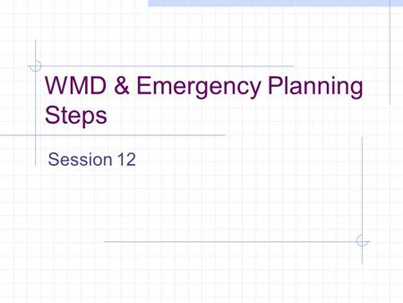 WMD & Emergency Planning Steps Session 12. Emergency Planning Steps Vulnerability Assessment Mitigation Efforts Emergency Response Planning Recovery.