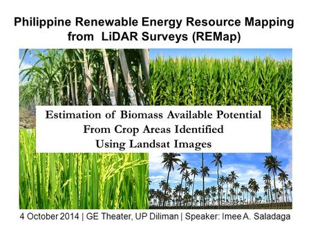 Philippine Renewable Energy Resource Mapping from LiDAR Surveys (REMap) Estimation of Biomass Available Potential From Crop Areas Identified Using Landsat.