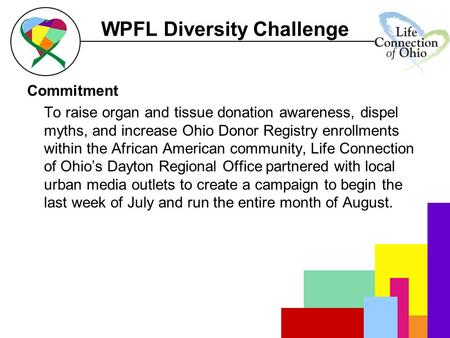 WPFL Diversity Challenge Commitment To raise organ and tissue donation awareness, dispel myths, and increase Ohio Donor Registry enrollments within the.