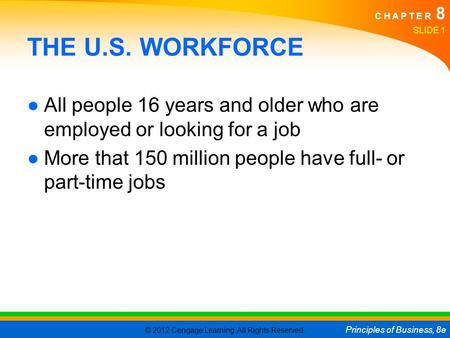 © 2012 Cengage Learning. All Rights Reserved. Principles of Business, 8e C H A P T E R 8 SLIDE 1 THE U.S. WORKFORCE ●All people 16 years and older who.