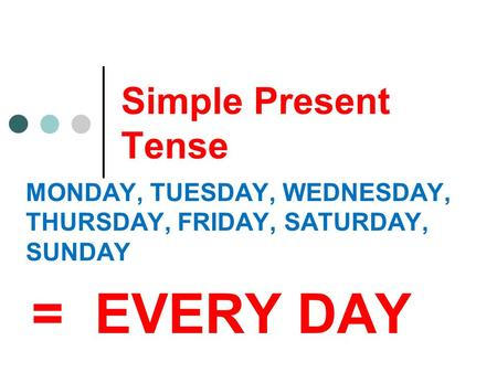 Simple Present Tense MONDAY, TUESDAY, WEDNESDAY, THURSDAY, FRIDAY, SATURDAY, SUNDAY = EVERY DAY.