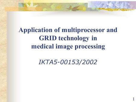 1 Application of multiprocessor and GRID technology in medical image processing IKTA5-00153/2002.