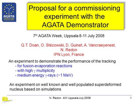 N. Redon AW Uppsala July 20081 Proposal for a commissioning experiment with the AGATA Demonstrator Proposal for a commissioning experiment with the AGATA.
