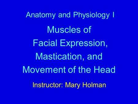 Anatomy and Physiology I Muscles of Facial Expression, Mastication, and Movement of the Head Instructor: Mary Holman.