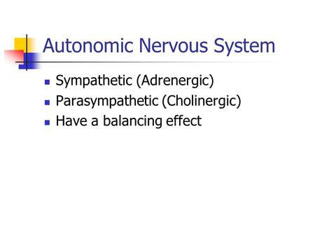 Autonomic Nervous System Sympathetic (Adrenergic) Parasympathetic (Cholinergic) Have a balancing effect.