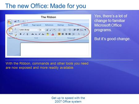 Get up to speed with the 2007 Office system The new Office: Made for you Yes, there's a lot of change to familiar Microsoft Office programs. But it's good.
