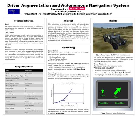 Driver Augmentation and Autonomous Navigation System Sponsored by EDSGN 100, Section 007 Group Members: Ryan Bradley, Matt Quigley, Mike Renard, Dan Bitner,