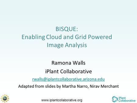 BISQUE: Enabling Cloud and Grid Powered Image Analysis Ramona Walls iPlant Collaborative