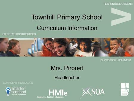 Mrs. Pirouet Curriculum Information Townhill Primary School Headteacher.