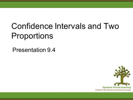 Confidence Intervals and Two Proportions Presentation 9.4.