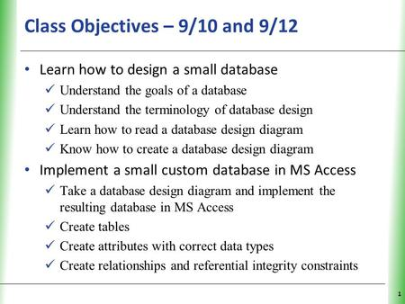 XP Class Objectives – 9/10 and 9/12 Learn how to design a small database Understand the goals of a database Understand the terminology of database design.