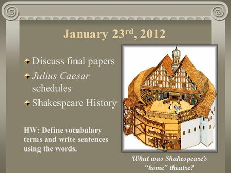 January 23 rd, 2012 Discuss final papers Julius Caesar schedules Shakespeare History HW: Define vocabulary terms and write sentences using the words.