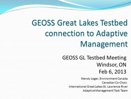 GEOSS Great Lakes Testbed connection to Adaptive Management