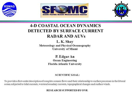 4-D COASTAL OCEAN DYNAMICS DETECTED BY SURFACE CURRENT RADAR AND AUVs L. K. Shay Meteorology and Physical Oceanography University of Miami P. Edgar An.