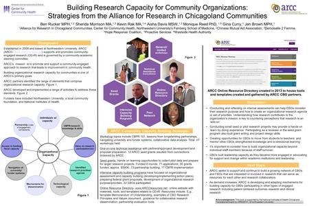 Building Research Capacity for Community Organizations: Strategies from the Alliance for Research in Chicagoland Communities Ben Rucker MPH, 1,2 Sherida.