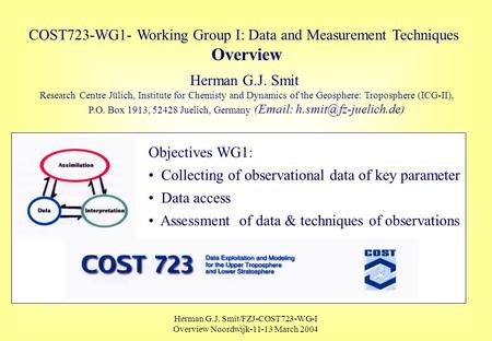 Herman G.J. Smit/FZJ-COST723-WG-I Overview Noordwijk-11-13 March 2004 COST723-WG1- Working Group I: Data and Measurement Techniques Overview Herman G.J.