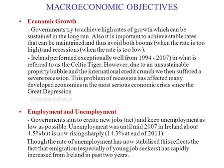 Macroeconomic objectives and policy