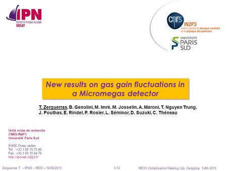 Zerguerras T. – IPNO – RDD – 14/06/2013 RD51 Collaboration Meeting July, Zaragoza 5-6th 2013 1/12 New results on gas gain fluctuations in a Micromegas.