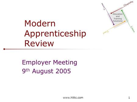 Www.hlttc.com1 Modern Apprenticeship Review Employer Meeting 9 th August 2005.