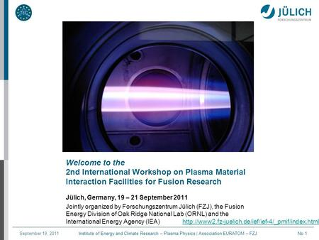 Institute of Energy and Climate Research – Plasma Physics | Association EURATOM – FZJSeptember 19, 2011No 1 Welcome to the 2nd International Workshop on.