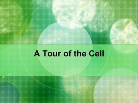 A Tour of the Cell.