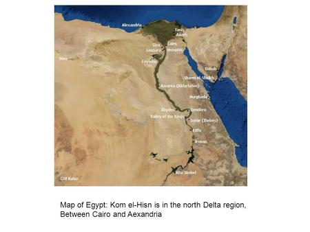 Map of Egypt: Kom el-Hisn is in the north Delta region, Between Cairo and Aexandria.
