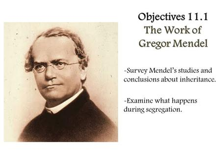 Objectives 11.1 The Work of Gregor Mendel