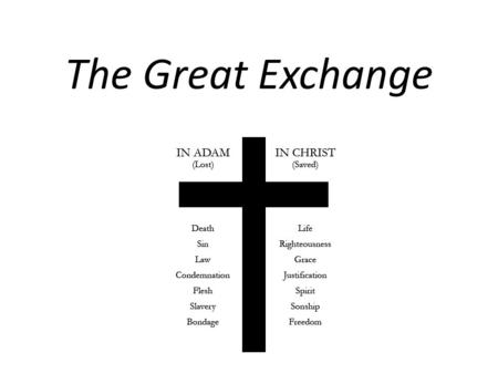 "The Great Exchange. We Have a Problem What does God require of us? Leviticus 19:2 ""Be Holy because I, the Lord your God, am holy."" Luke 10:28 ""Do this."