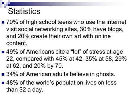Statistics 70% of high school teens who use the internet visit social networking sites, 30% have blogs, and 20% create their own art with online content.